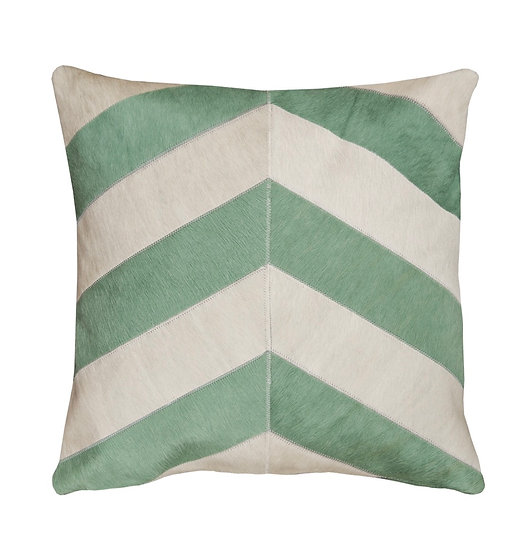 Cowhide Cushion | Mint and Cream Chevron | 50cm x 50cm
