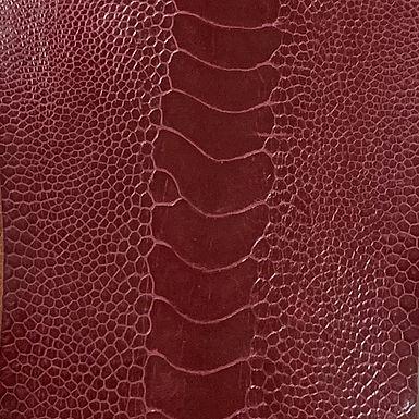 Ostrich Leg Leather   Campari   Glazed Finish