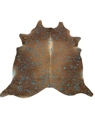 Brown Cowhide Rug | Turquoise Devorre Splash