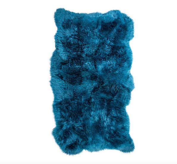 Sheepskin Design Rug | Azure Blue | Natural Edges