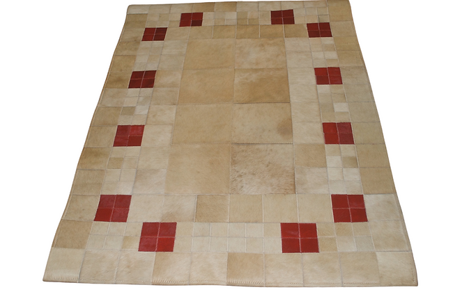 Patchwork Cowhide Rug | Beige and Red 100 x 140cm