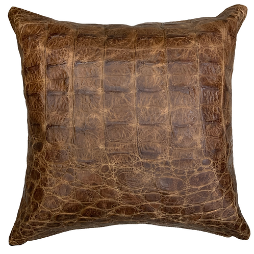 Leather Throw Pillow   King Croc Emboss