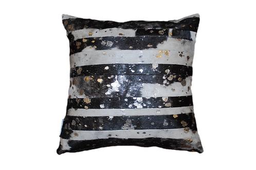 Cowhide Pillow | Brown & White Silver Metallic | 45cm x 45cm