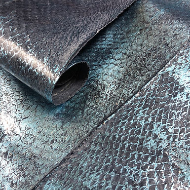 Salmon  Leather | Smooth | Blue with Blue Metallic