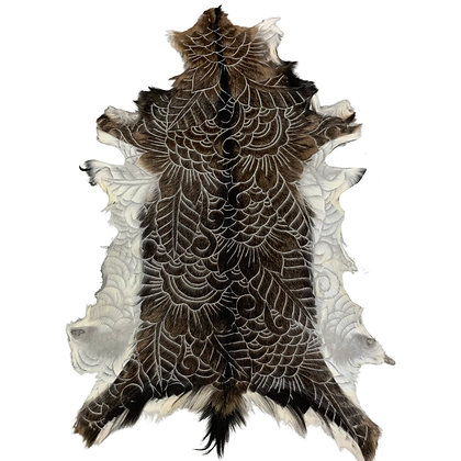Goat Hide Rugs   Hand Carved Natural   10290