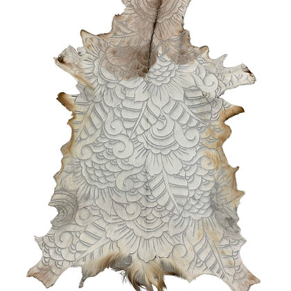 Goat Hide Rugs | Hand Carved Natural | 10287