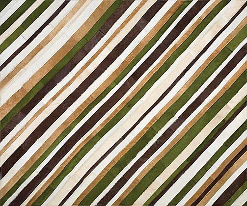 Patchwork Cowhide Rug | Beige and Green 155 x 190cm