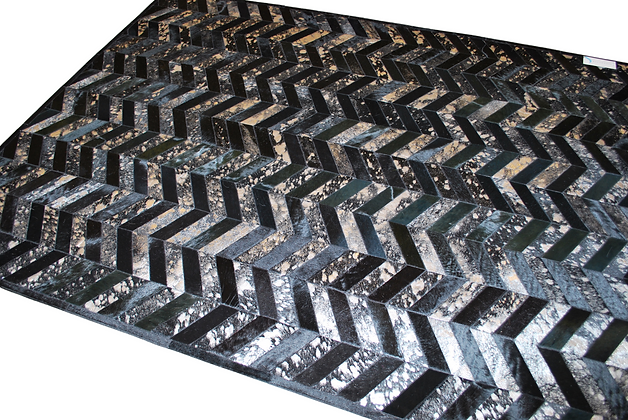 Patchwork Cowhide Rug | Black and Metallic Silver | 160 x 210cm