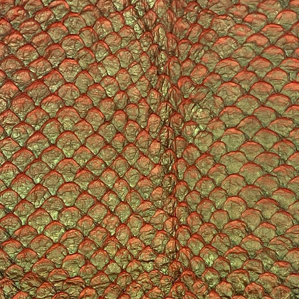 Arapaima Leather | Two Tone Orange/Green Pearl