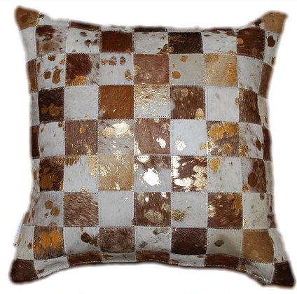 Cowhide Cushion | Brown & White Gold Splash | 45cm x 45cm