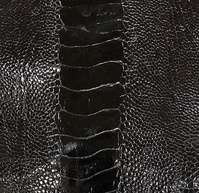 Ostrich Leg Leather | Black | Glazed Finish