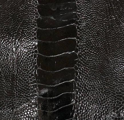 Ostrich Leg Leather   Black   Glazed Finish