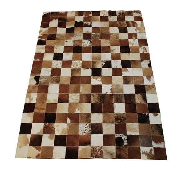 Patchwork Cowhide Rug | Mixed Browns | 120cm x 180cm