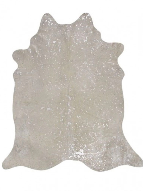 Metallic Splash Cowhide | Silver on white