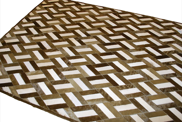 Patchwork Cowhide Rug | Champagne and White 155 x 205cm