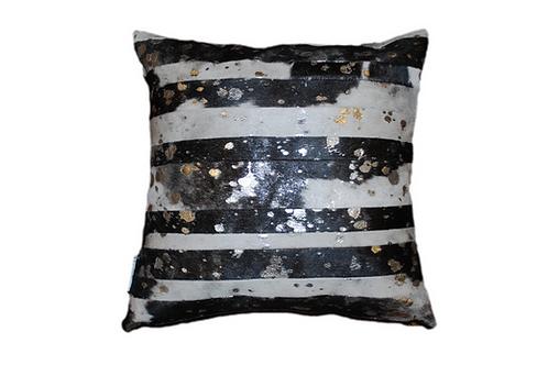 Cowhide Pillow | Black & White Silver Metallic 45cm x 45cm