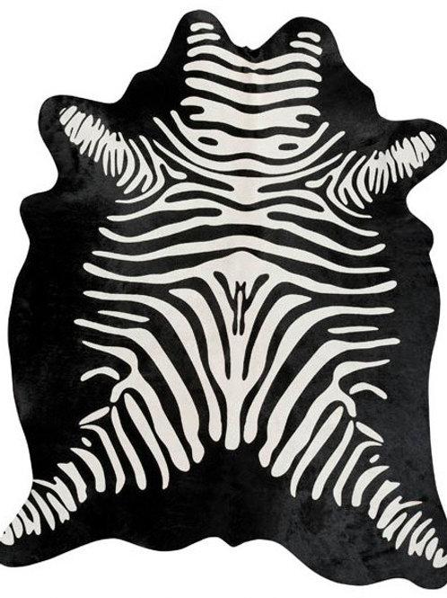 Zebra Printed Cowhide | White on Black Reverse