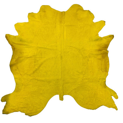 Italian Dyed Cowhide Rug   Canary Yellow