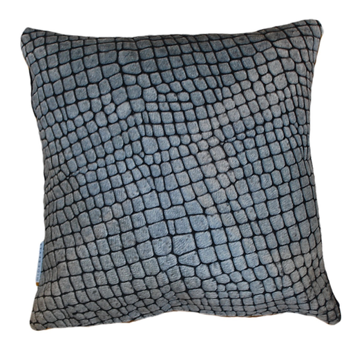 Cowhide Cushion | Black and White Laser Croc| 40cm x 40 cm