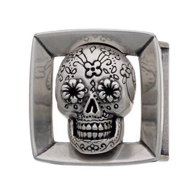 3D Belt Buckle   Mexican Sugar Skull Design