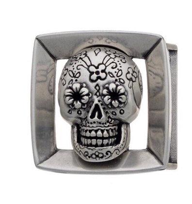 3D Belt Buckle | Mexican Sugar Skull Design