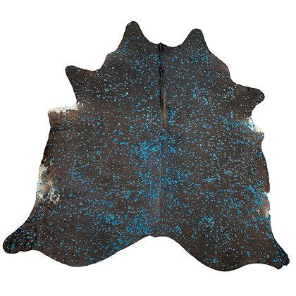 Devore acid wash cowhide rug turquoise on black