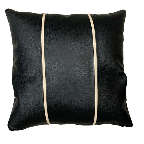 Leather Throw Pillow | Black Leather / Beige Pinstripes