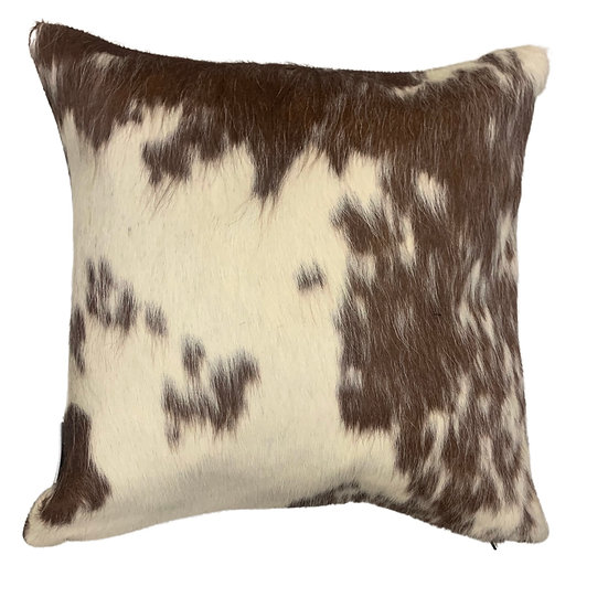 Pair of Soho Cowhide Pillow | Brown and White | 45cm x 45cm