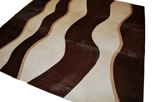 Patchwork Cowhide Rug | Brown Beige and White 200 x 200cm