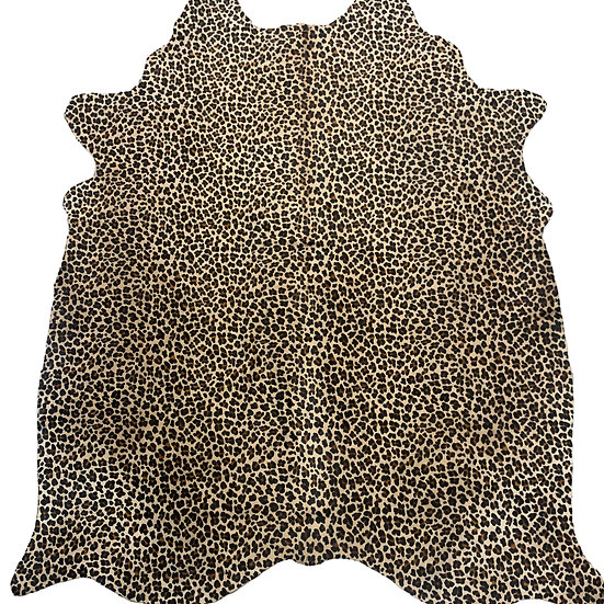 Leopard Printed Cowhide   Black and Brown on Beige