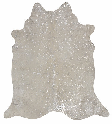 White Cowhide Rug | Silver Metallic Splash
