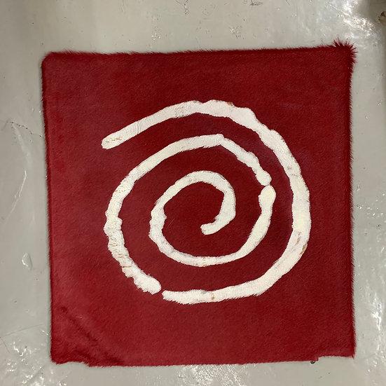 Cowhide Cushion | Spiral | Red Silver Metallic