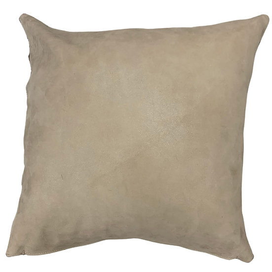 Leather Throw Pillow   Beige Leather    45cm x 45cm