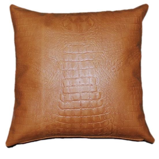 Leather Throw Pillow | Golden Tan Leather Crocodile Emboss | 45cm x 45cm