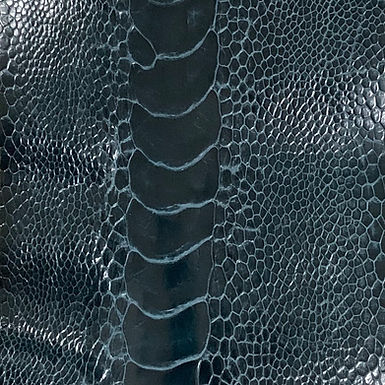 Ostrich Leg Leather | Petrel Blue | Glazed Finish