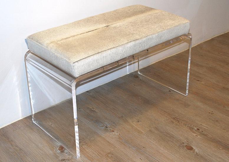 Acrylic Bench | Natural Grey Cowhide