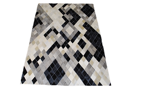 Patchwork Cowhide Rug, Diamond Design