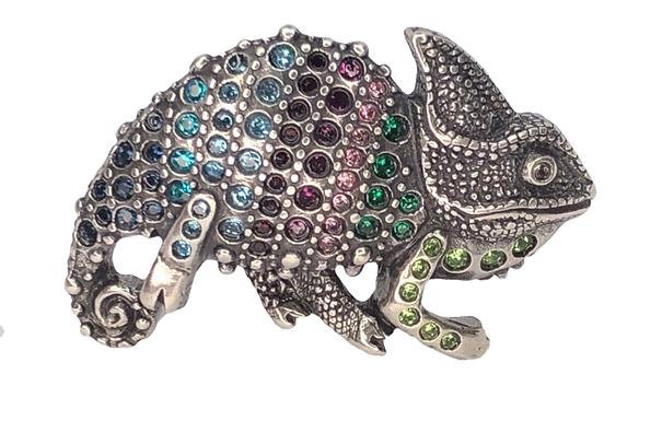 3D Belt Buckle | Chameleon Design with Multicolour Crystals