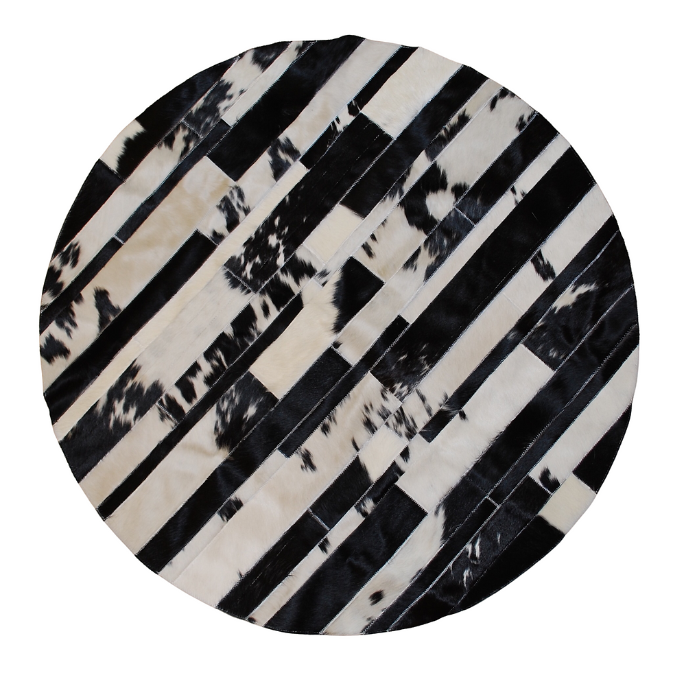 cowhide patchwork rug stripes scirocco black and white