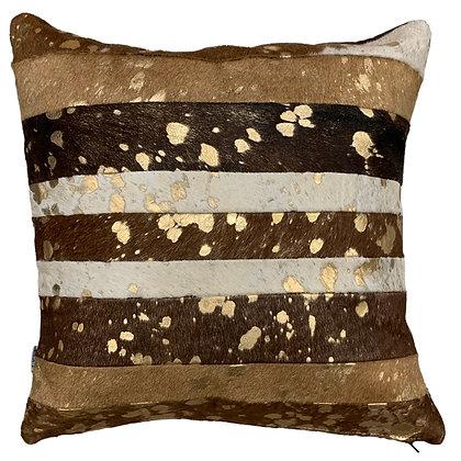 Cowhide Cushion | Brown and White Gold Metallic Splash | 45cm x 45cm
