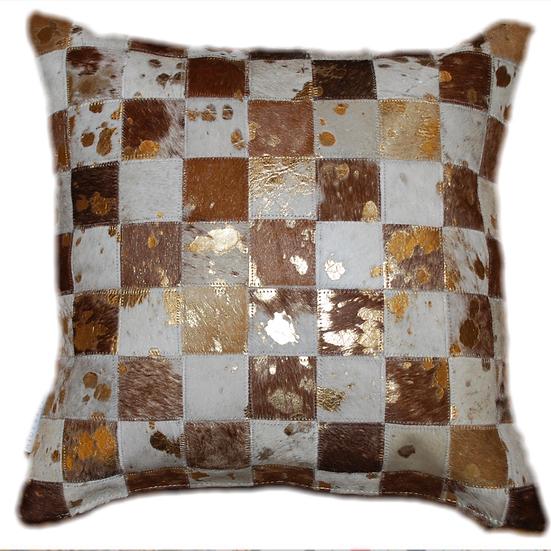 Cowhide Pillow | Brown & White Gold Metallic 45cm x 45cm
