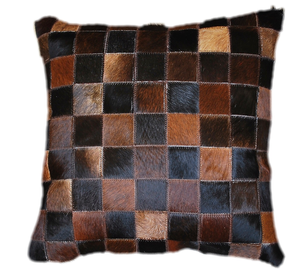 Cowhide Pillow | Natural Dark Brown Cowhide 45cm x 45cm