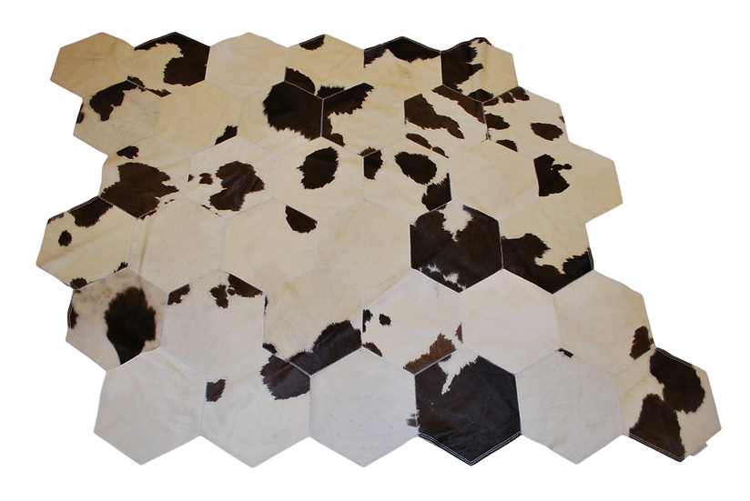Quito Patchwork Cowhide Rug | Dark Brown and White 140 x 150cm