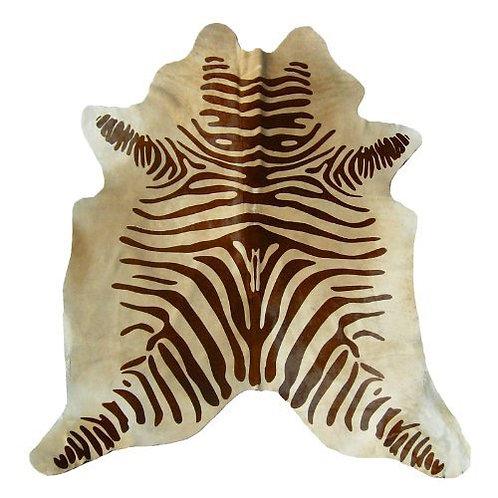 Zebra Printed Cowhide | Brown on Beige