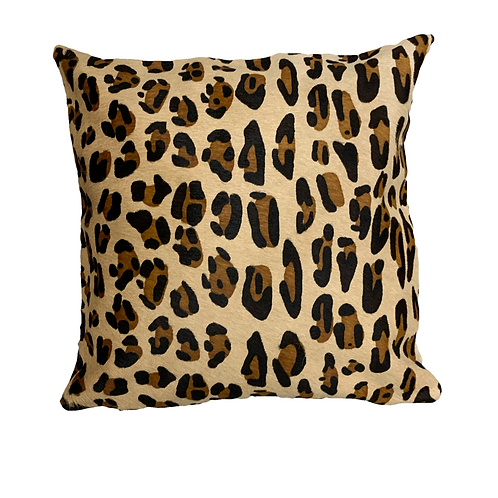 Cowhide Cushion | 40cm x 40cm | Jaguar on Beige