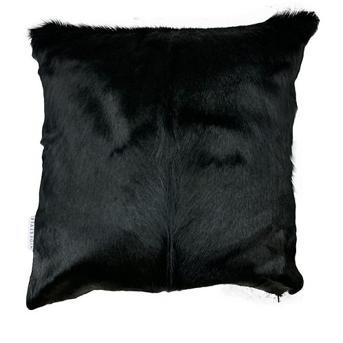 Black springbok hide cushion