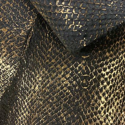 Salmon  Leather | Black with Gold Metallic