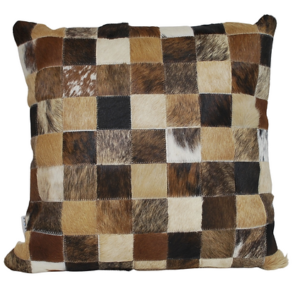 Cowhide Cushion | Natural Mixed Browns | 45cm x 45cm