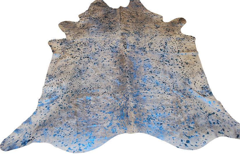 Metallic Splash Cowhide | Blue on White