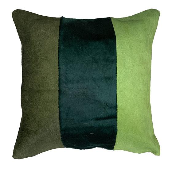 Cowhide Cushion | Tri Panel  | Greens
